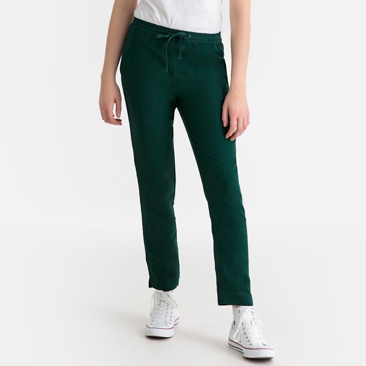 Брюки La Redoute Прямые с добавлением льна 34 (FR) - 40 (RUS) зеленый брюки широкие 7 8 из льна и вискозы
