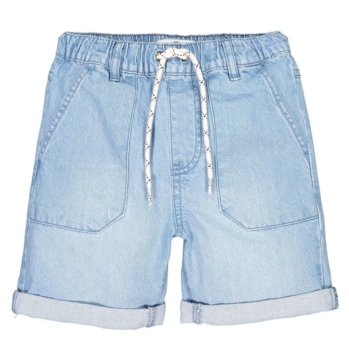 Бермуды LaRedoute Из джинсовой ткани 3-12 лет 9 синий жакет la redoute из джинсовой ткани 3 14 лет 5 лет 108 см синий