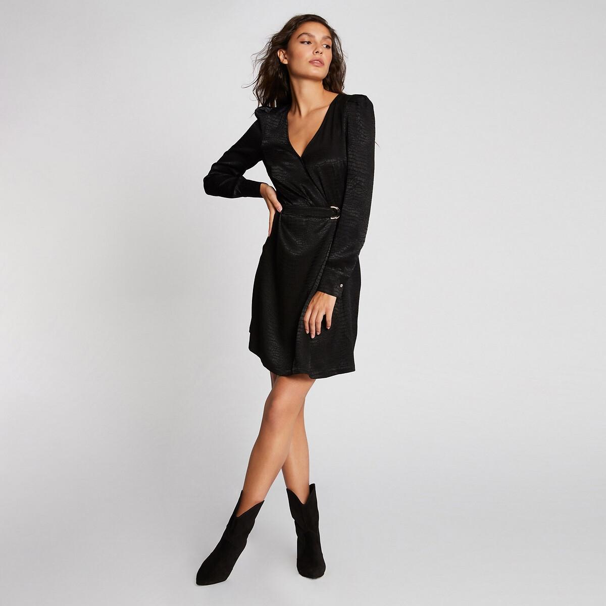Фото - Платье LaRedoute С запахом короткое 38 (FR) - 44 (RUS) черный платье laredoute с запахом с рисунком 34 fr 40 rus синий