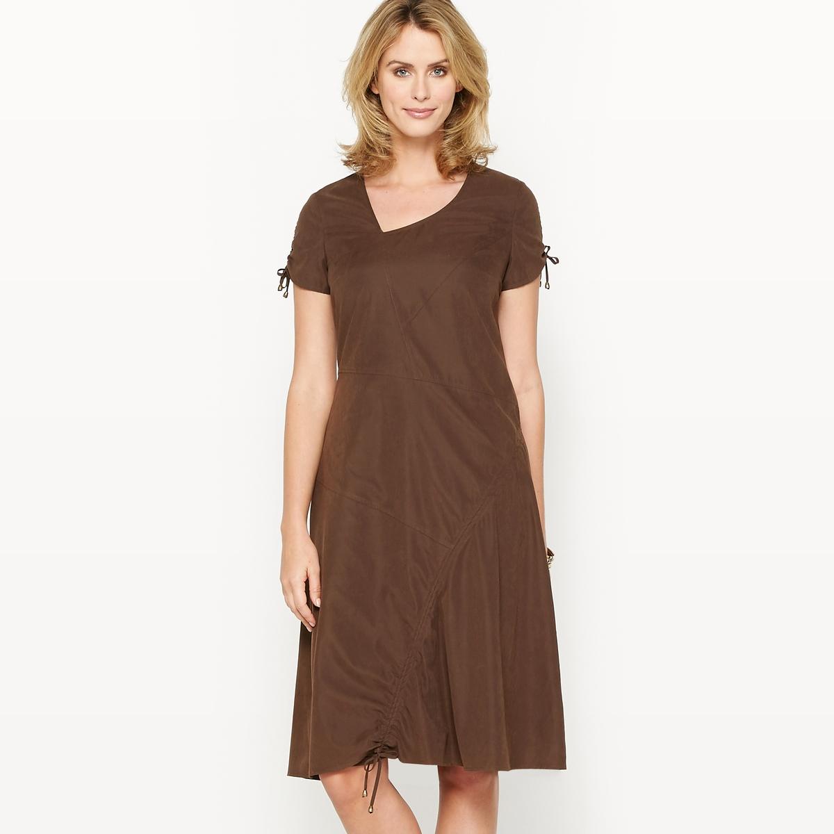 Платье из микрофибры, на ощупь напоминающее кожу персикаСостав и описание :Материал : Микрофибра 90% полиэстера, 10% полиамида, шелковистая ткань с эффектом кожи персика .Подкладка    : 100% полиэстер.Длина 105 см.Марка : Anne Weyburn. Уход :Машинная стирка при 30° на умеренном режиме, с изнанки, с одеждой подобного цвета.Гладить при низкой температуре с изнаночной стороны.<br><br>Цвет: каштановый<br>Размер: 42 (FR) - 48 (RUS).44 (FR) - 50 (RUS).46 (FR) - 52 (RUS).48 (FR) - 54 (RUS).50 (FR) - 56 (RUS).38 (FR) - 44 (RUS).40 (FR) - 46 (RUS)