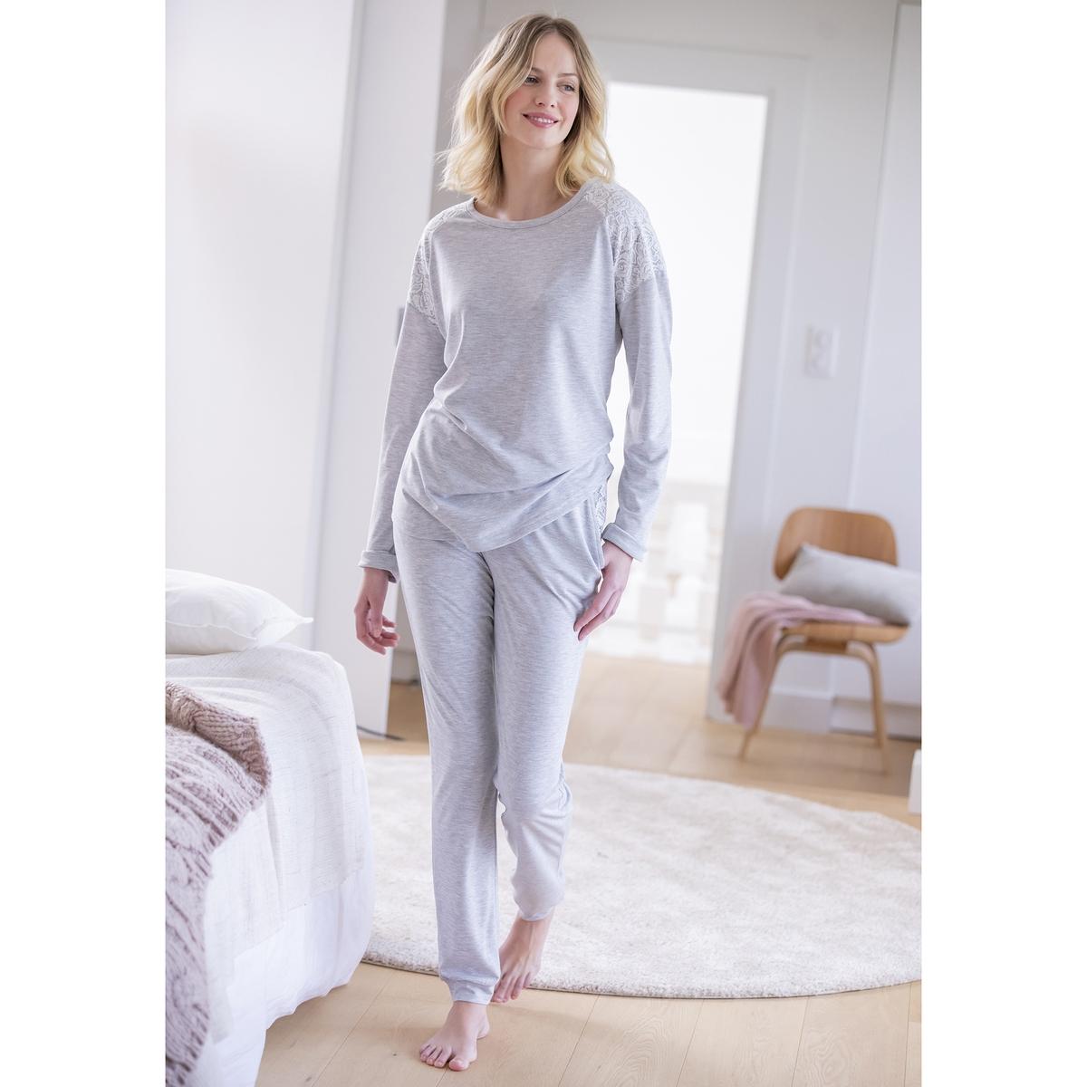 Пижама La Redoute Из кружева Thermolactyl L серый