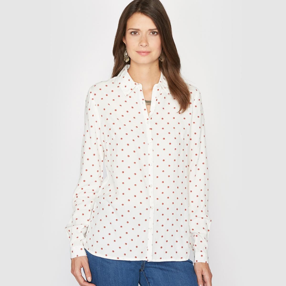 Рубашка струящаяся в горошек