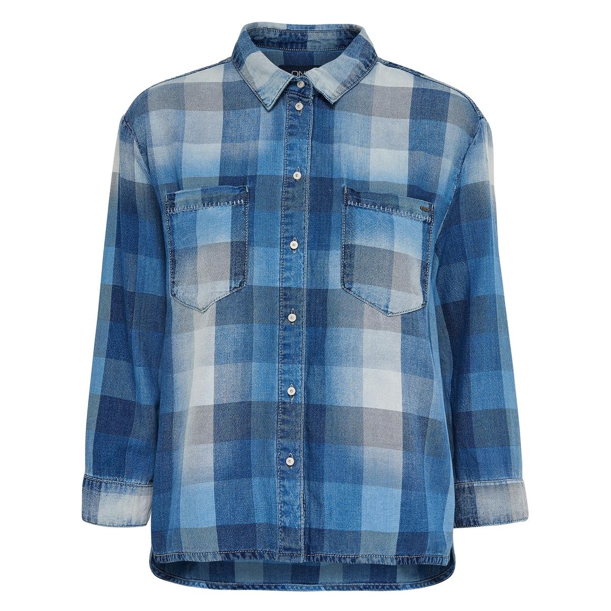 Рубашка в клетку деним Nori