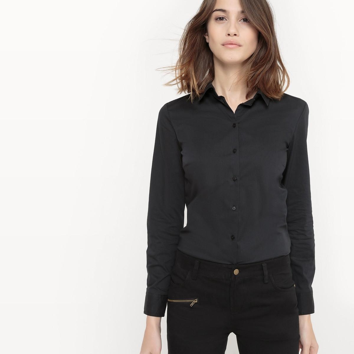 Рубашка LaRedoute Однотонная с длинными рукавами рубашечный воротник 34 (FR) - 40 (RUS) черный платье la redoute прямое с рукавами 34 fr 40 rus черный