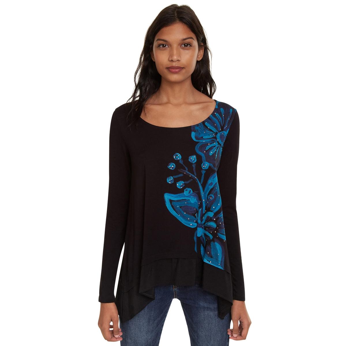 Camiseta Lena de manga larga, con corte en asimetría