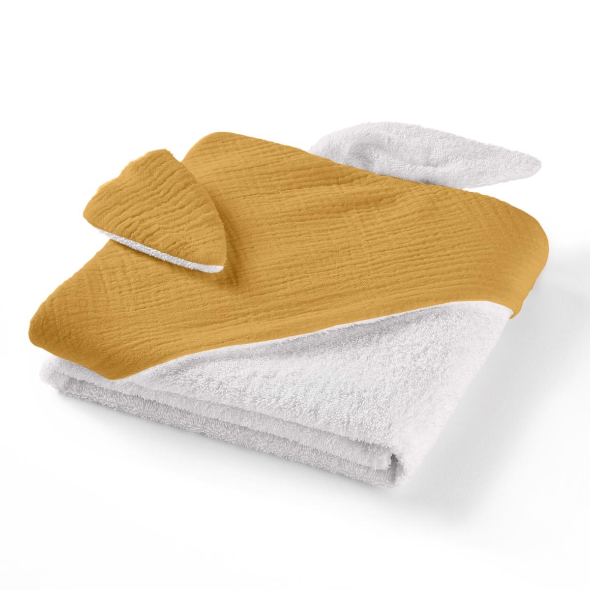 Накидка La Redoute Для ванной из хлопчатобумажной газовой ткани для новорожденного Kumla 100 x 100 см желтый хлопок эпохи purcotton детей клип хлопчатобумажной ткани является хорошим другом 120x150cm мешок