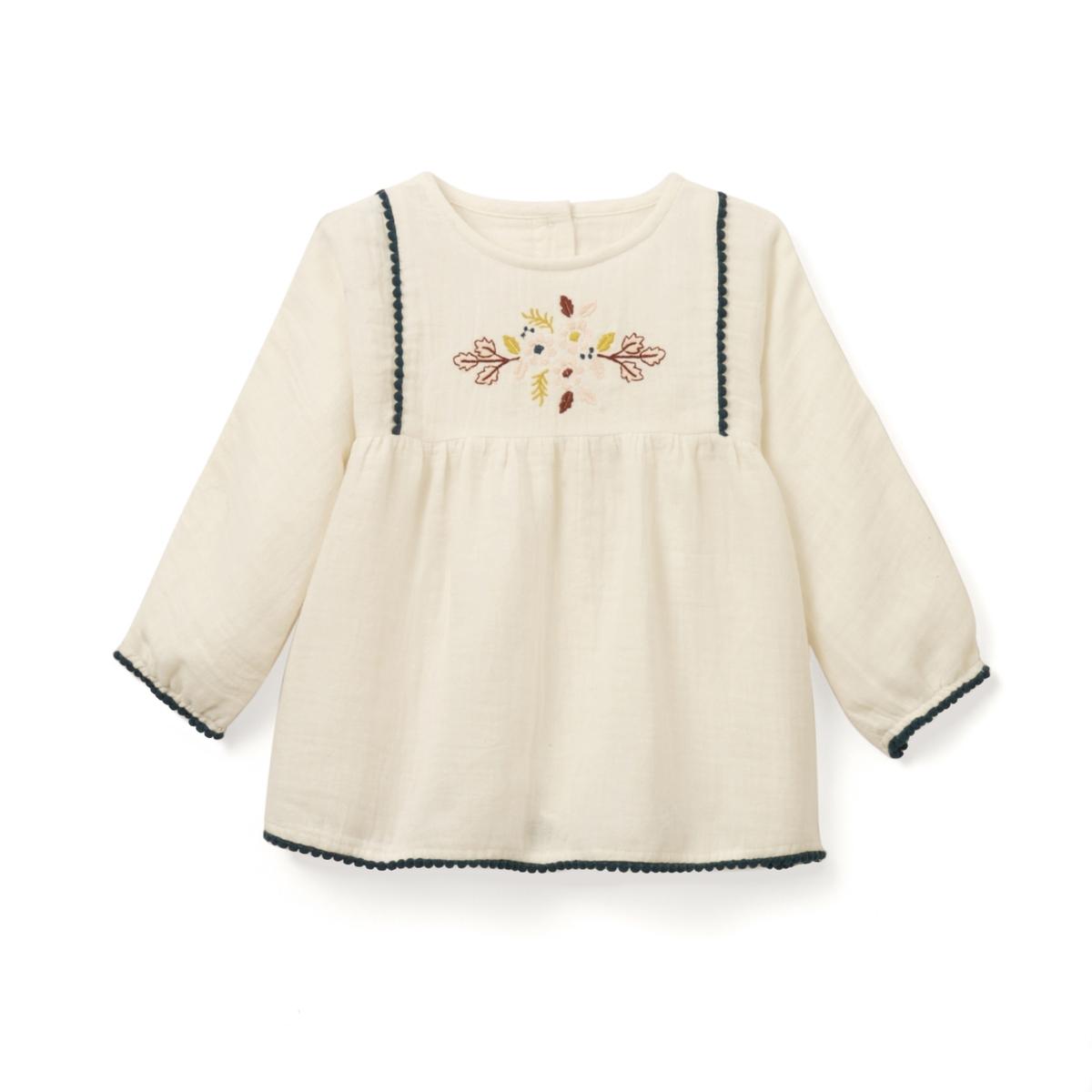 Блузка с длинными рукавами и вышивкой, 1 мес. - 3 года