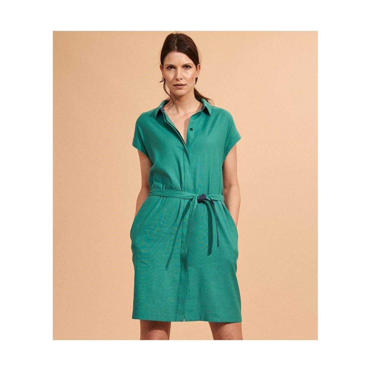 Robe chemise lin stretch