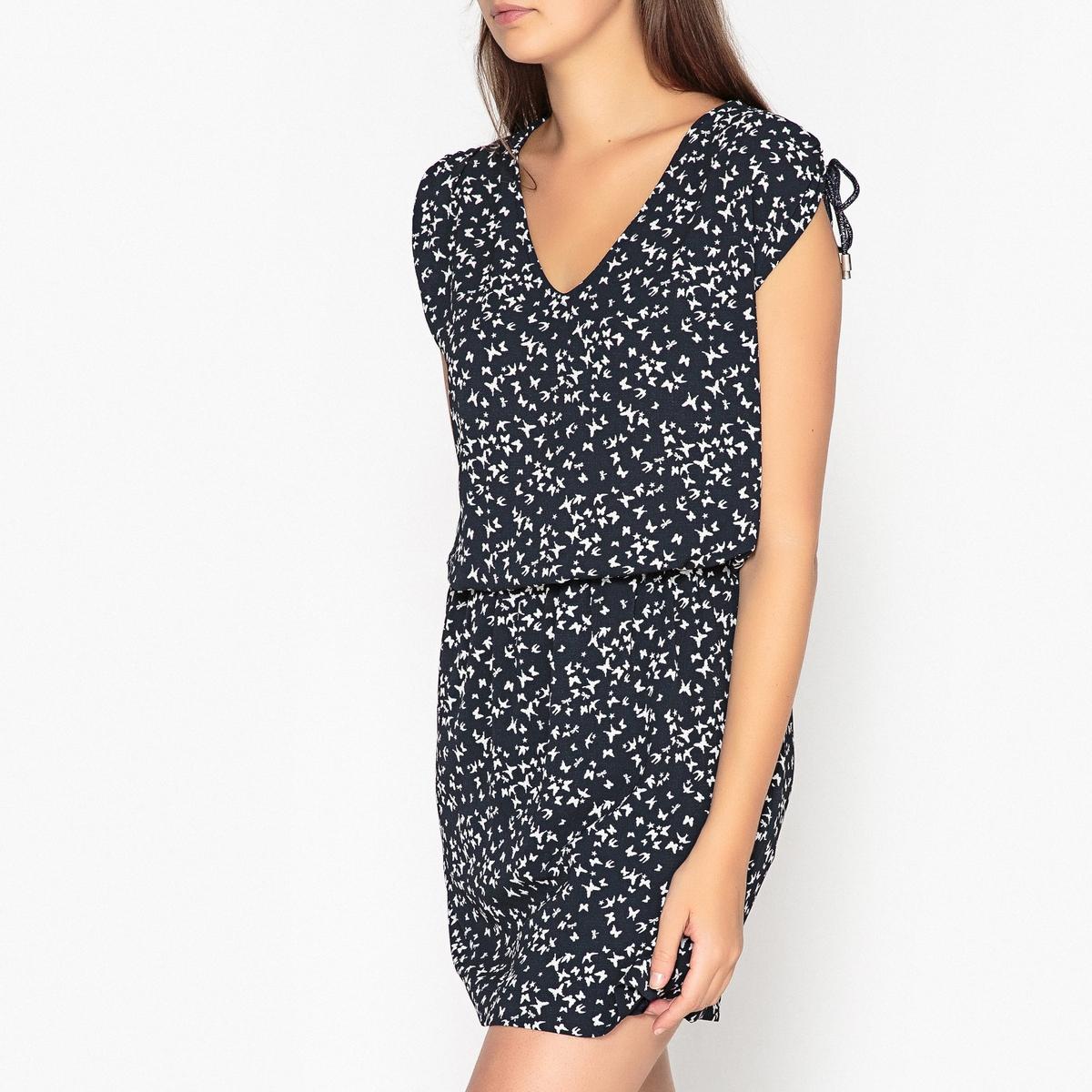 Платье в полоску укороченное с короткими рукавами
