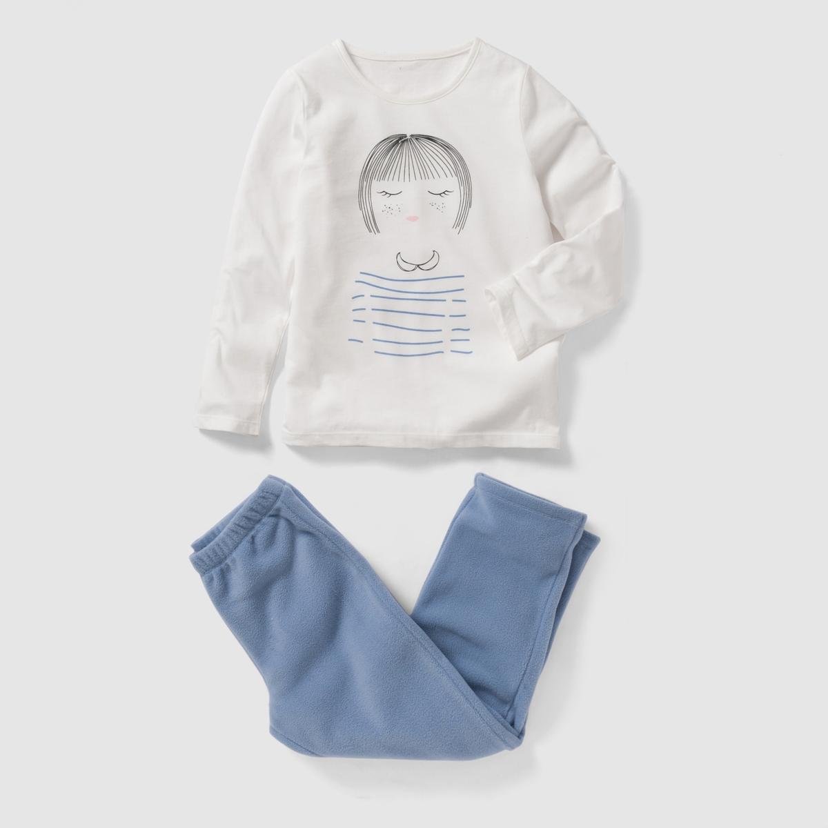 Пижама из джерси и флиса 2-12 летСостав и описание : Материал: футболка из трикотажа джерси, 100% хлопка брюки из флиса, 100% полиэстера.Марка: abcdR.  Уход :- Машинная стирка при 30°C с вещами схожих цветов.Стирать и гладить с изнаночной стороны.- Машинная сушка в умеренном режиме.Гладить при умеренной температуре.<br><br>Цвет: экрю<br>Размер: 6 лет - 114 см
