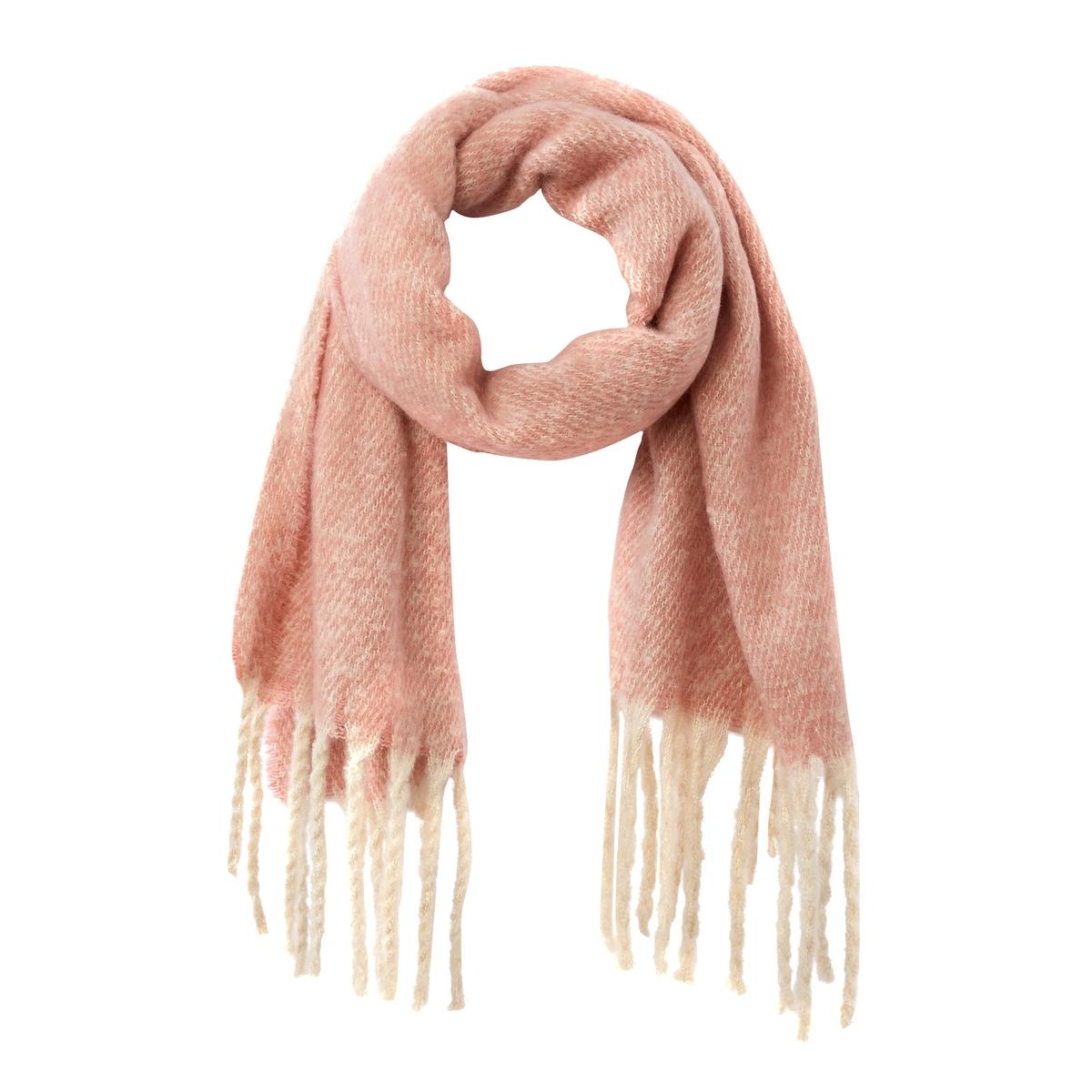 Шарф La Redoute С бахромой UNI розовый сумка la redoute кожаная маленькая с клапаном с вышивкой uni розовый