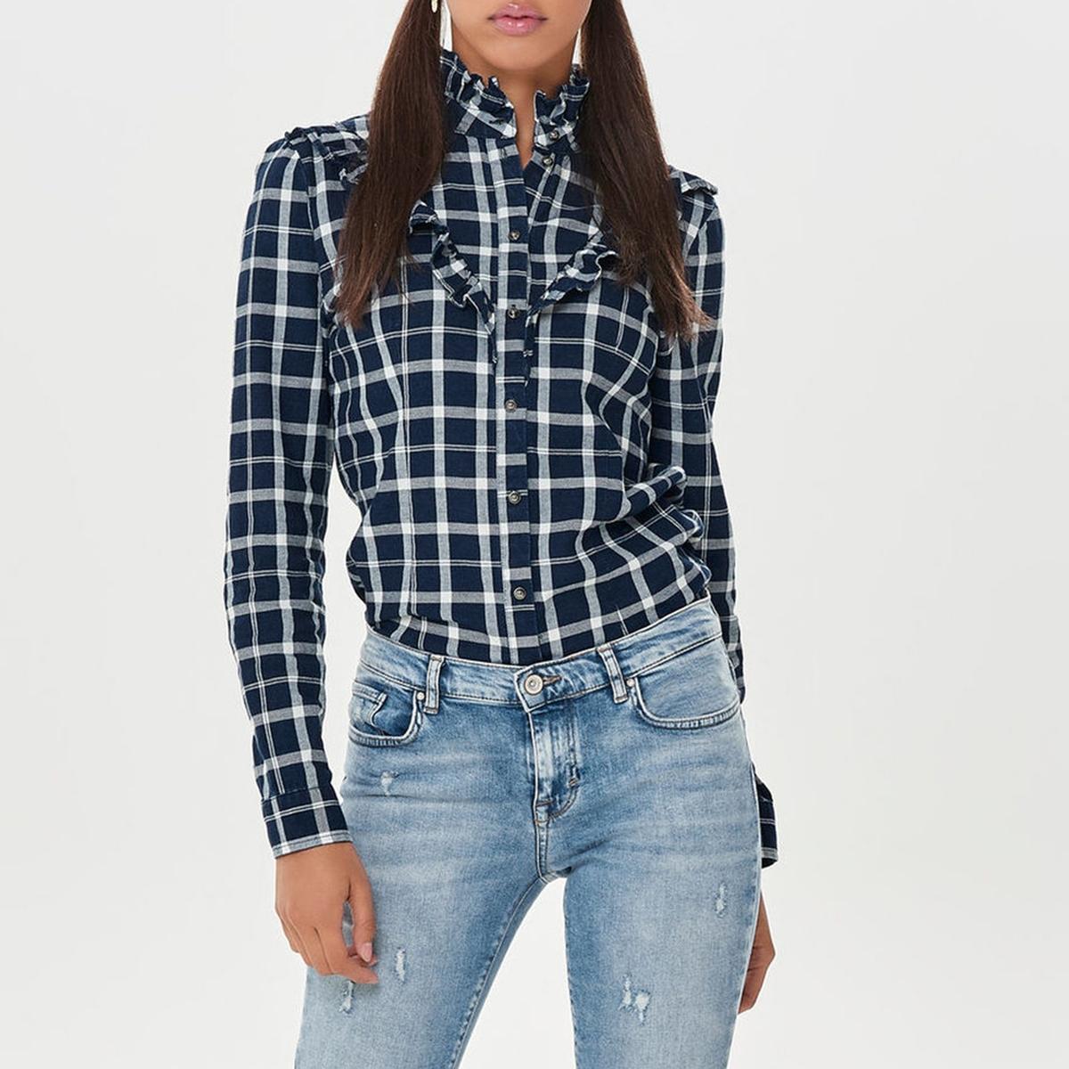 Рубашка с длинными рукавами с воланами спереди цена 2017