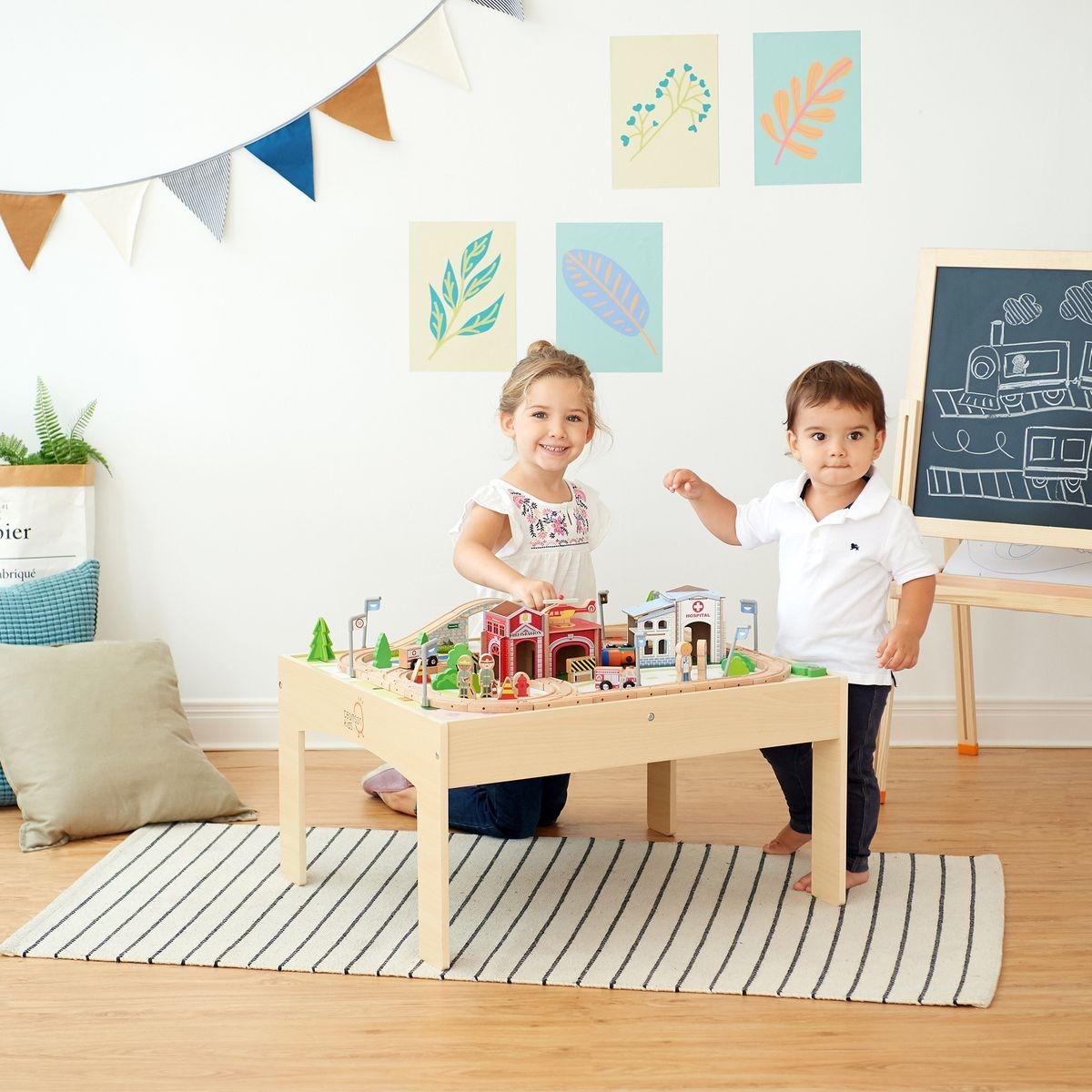 Train véhicule miniature table de jeu enfant 85 pièces bois Teamson Kids