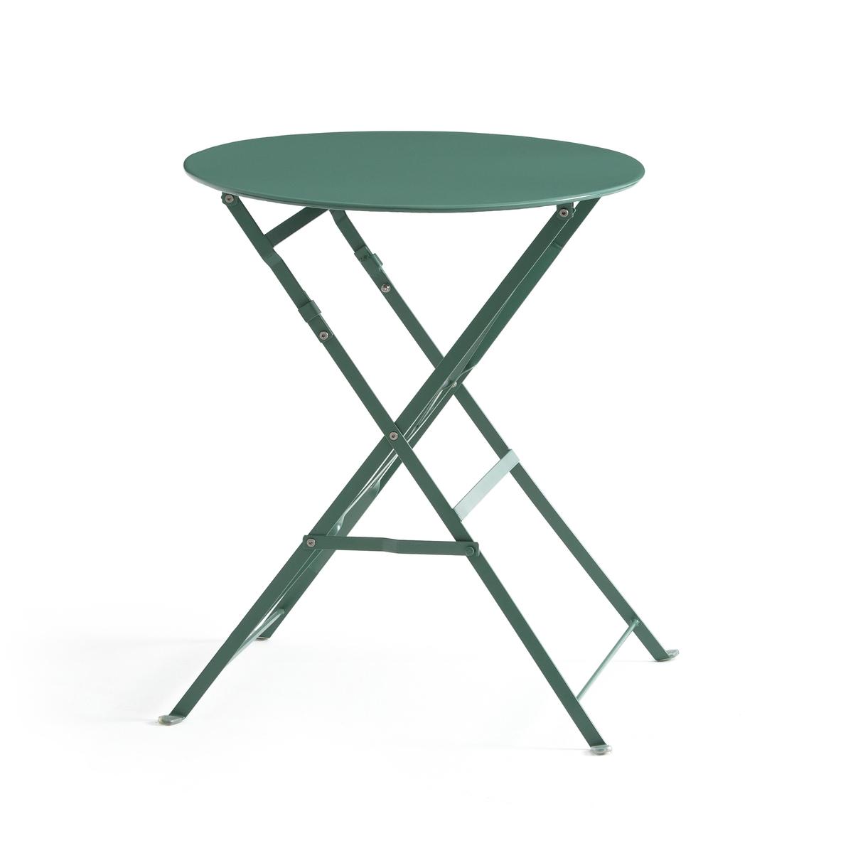 Столик складной из металла OZEVANИдеален для небольших помещений, дома или в саду, небольшой металлический столик легко складывается и собирается.Характеристики складного столика OZEVAN : - Из металла с цветным лаковым покрытием. -Покрытие: эпоксидная эмаль..  Поставляется в собранном виде.  Размеры : - Общие : ? 60 x В70 см. - В собранном виде : толщина 5 см.  Идея для декора : для ужина тет-а-тет на балконе или внутри помещения в качестве вспомогательного столика : эта яркая модель собирается без усилий !  *Металл с антикоррозийной обработкой и покрытием эпоксидной эмалью делает этот столик  удобным  в использовании и устойчивым к ржавчине и неблагоприятным погодным условиям. Легкий, просто перемещать и хранить.<br><br>Цвет: Зеленый эвкалипт,серый,синий прусский,терракота