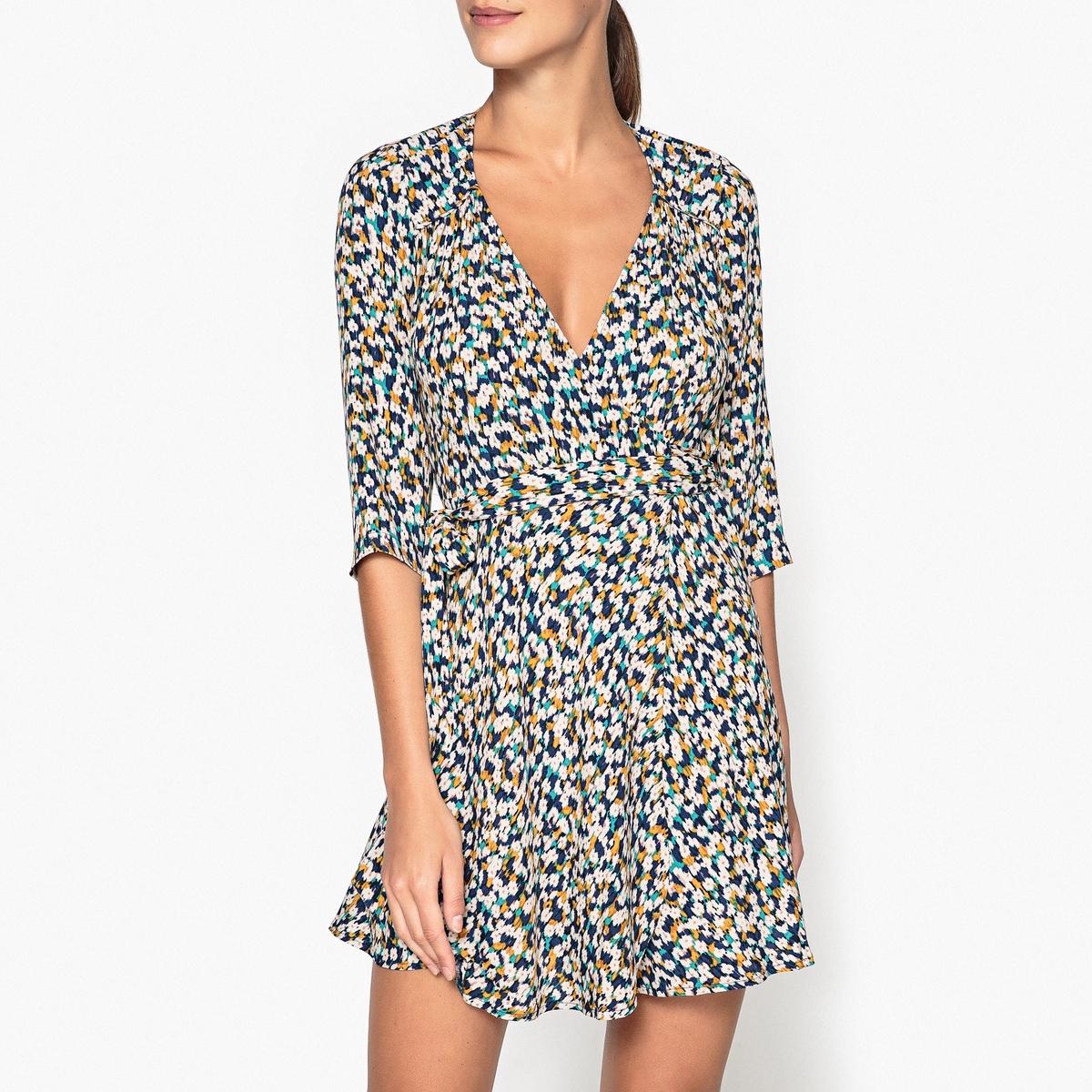 Платье с запахом с рисунком CHICACHI недорогое платье запахом для полных
