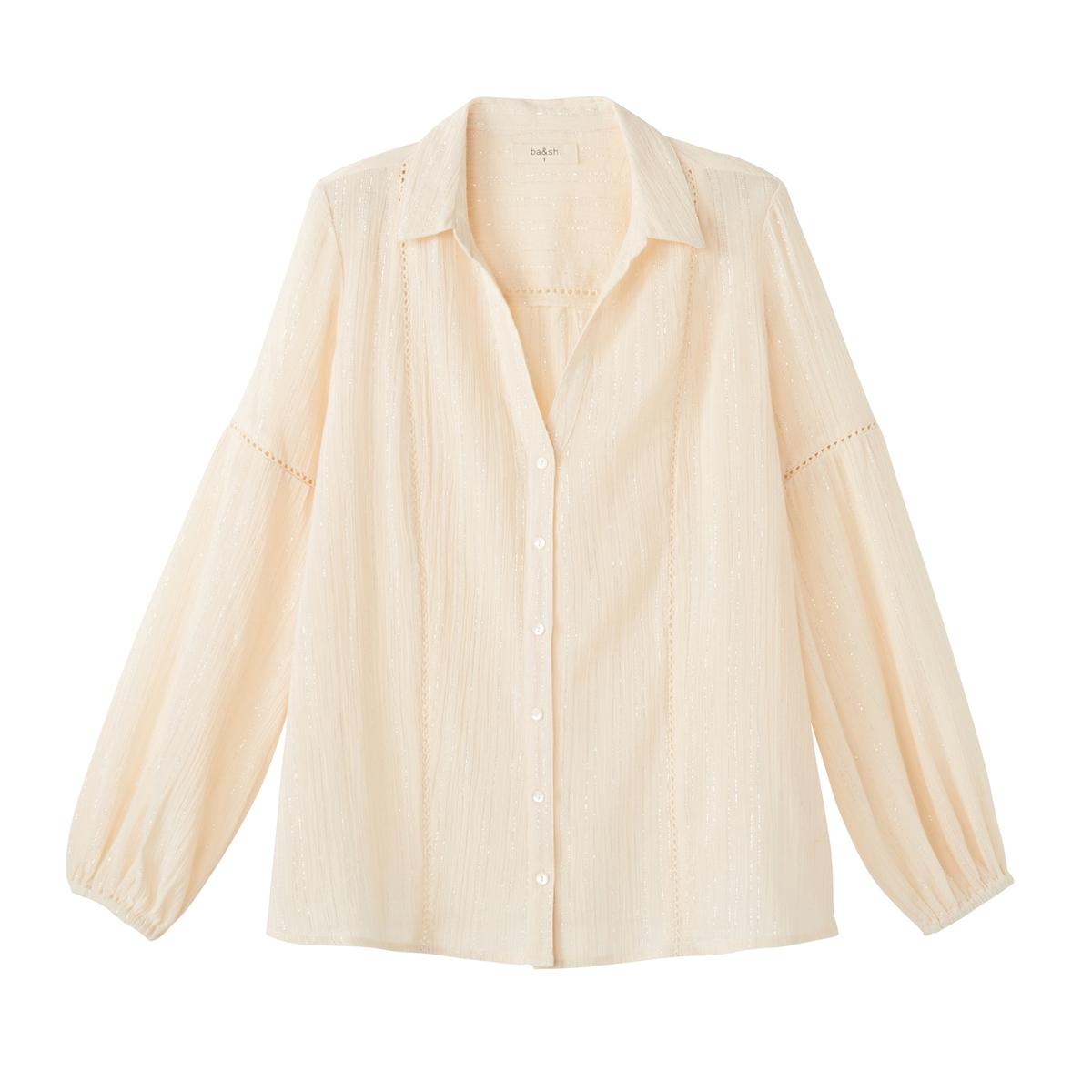 Рубашка блестящая LAKOTAБлестящая рубашка BA&amp;SH - модель LAKOTA с мережками и перламутровыми пуговицами.Детали  •  Длинные рукава •  Прямой покрой •  Воротник-поло, рубашечныйСостав и уход  •  98% хлопка, 2% металлизированного волокна •  Следуйте рекомендациям по уходу, указанным на этикетке изделия •  Эластичные манжеты •  Перламутровые пуговицы •  Мережки на рукавах •  V-образный вырез и рубашечный воротник<br><br>Цвет: сливовый,экрю