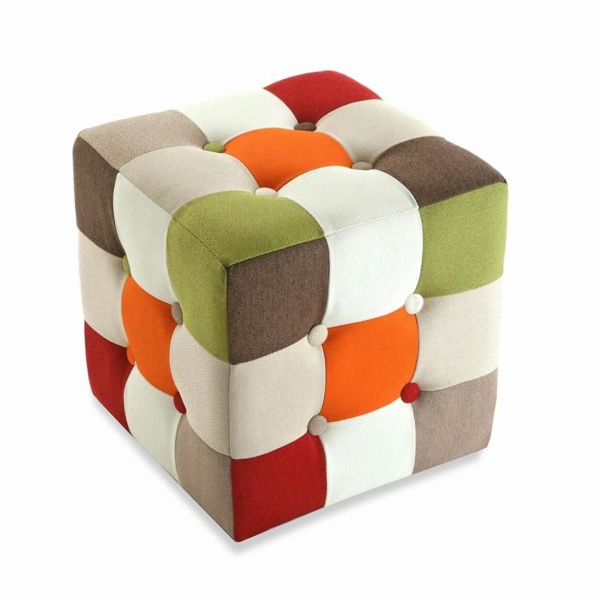 Pouf tabouret cube patchwork orange 35x35cm