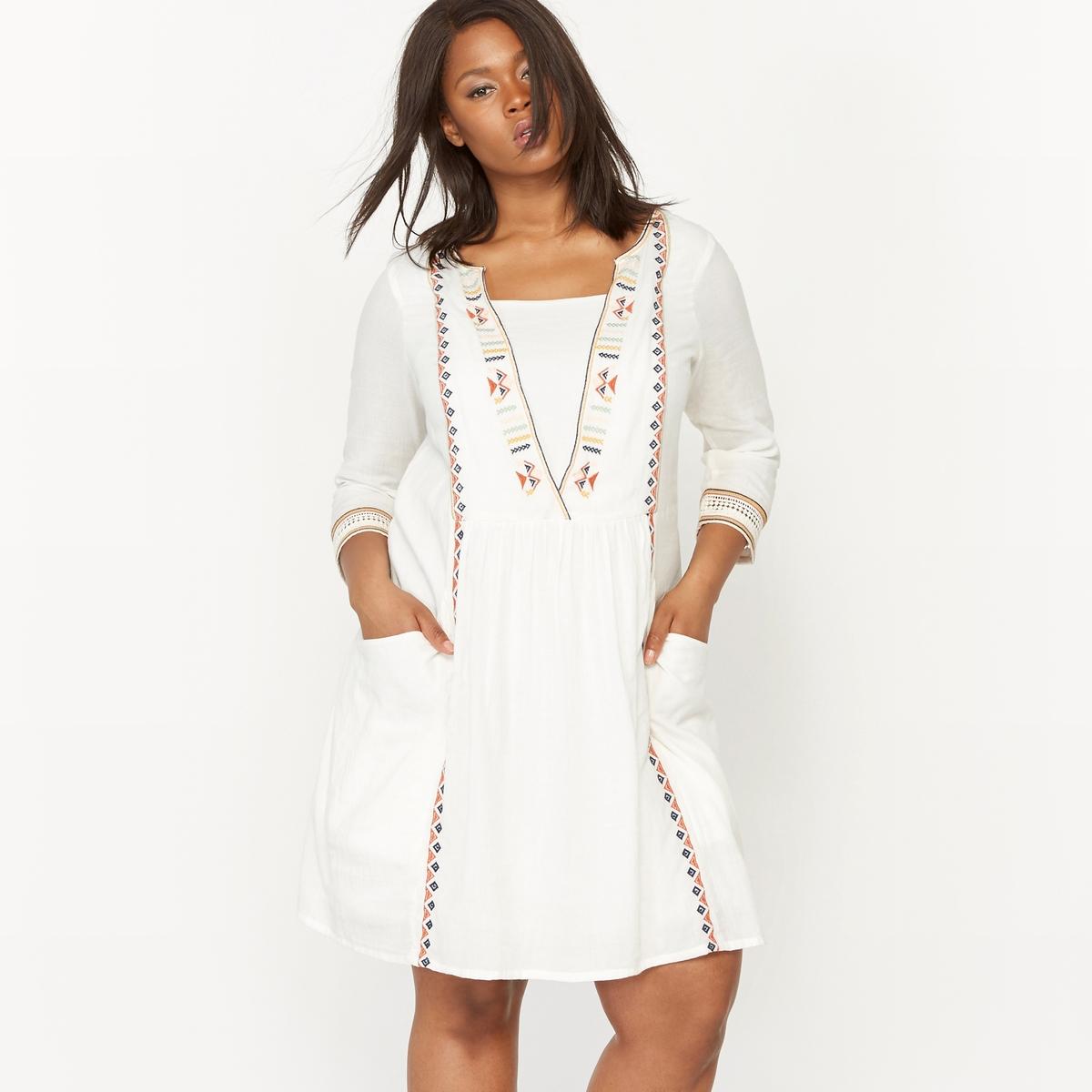Платье с вышивкой с рукавами 3/4 платье с вышивкой