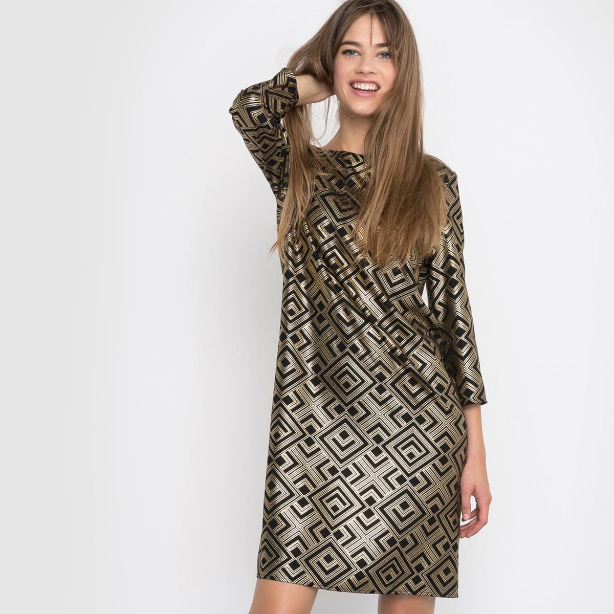 Платье-футляр с рисункомПлатье с рукавами ? R ?dition. Платье-футляр из струящейся ткани. Геометрический рисунок золотистого цвета. Свободный круглый вырез. Застежка на молнию сзади. Состав и описаниеМарка :      R ?ditionМатериал : 100% полиэстерДлина : 92 смУходМашинная стирка при 30 °CСтирать с вещами схожих цветовСтирать и гладить при низкой температуре с изнаночной стороны<br><br>Цвет: рисунок золотистый<br>Размер: 38 (FR) - 44 (RUS)