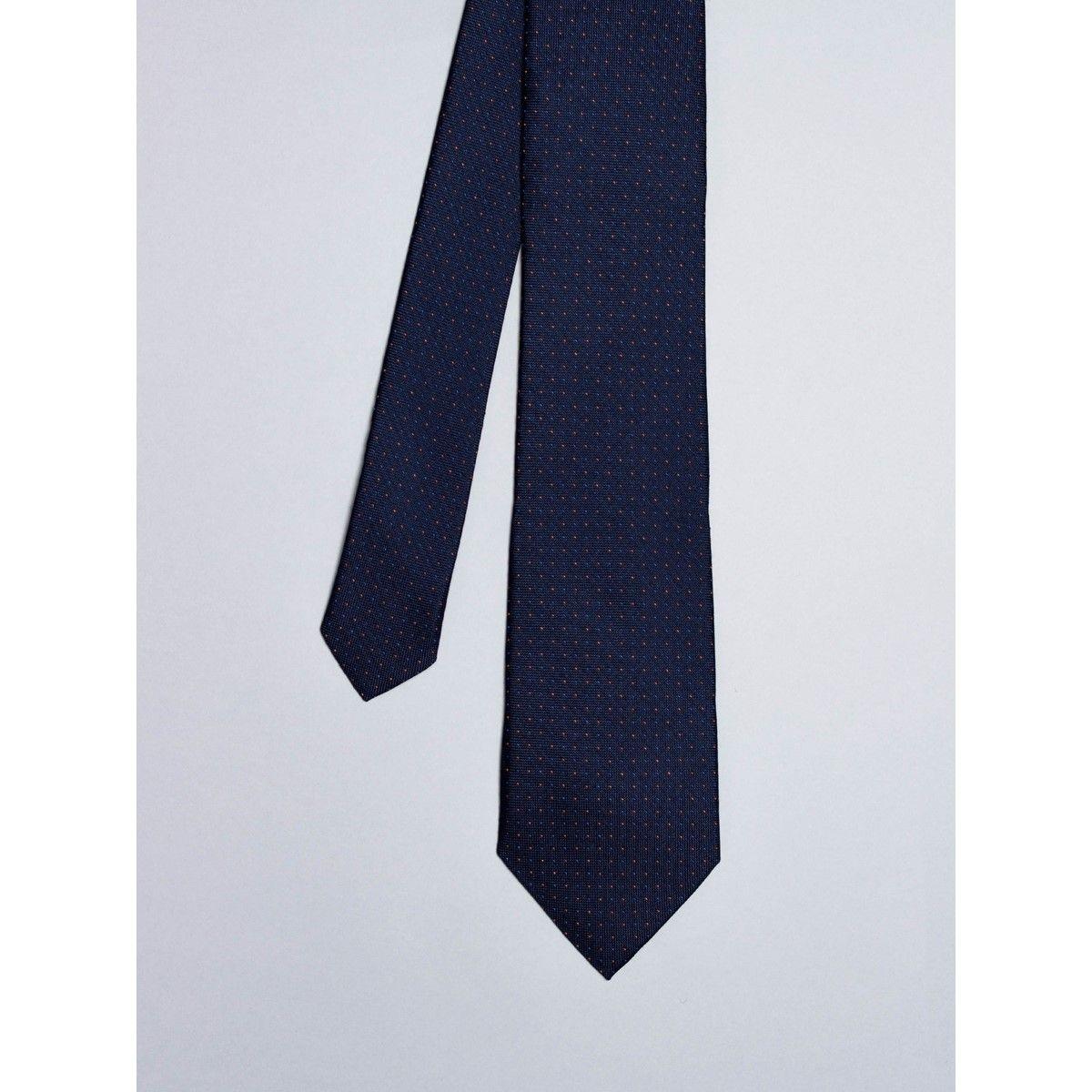 Cravate bleu nuit avec micro pois orange et bleus