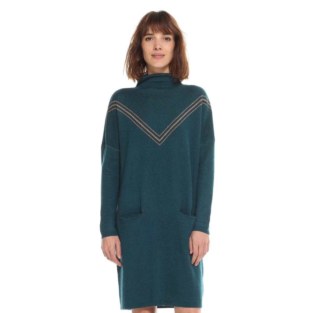 Платье-пуловер однотонное, короткое, с длинными рукавамиДетали  •  Форма : платье-пуловер •  Укороченная модель •  Длинные рукава    •  Воротник-стойкаСостав и уход  •  6% шерсти, 19% акрила, 2% металлизированных волокон, 20% полиамида, 53% полиэстера •  Следуйте советам по уходу, указанным на этикетке<br><br>Цвет: сине-зеленый