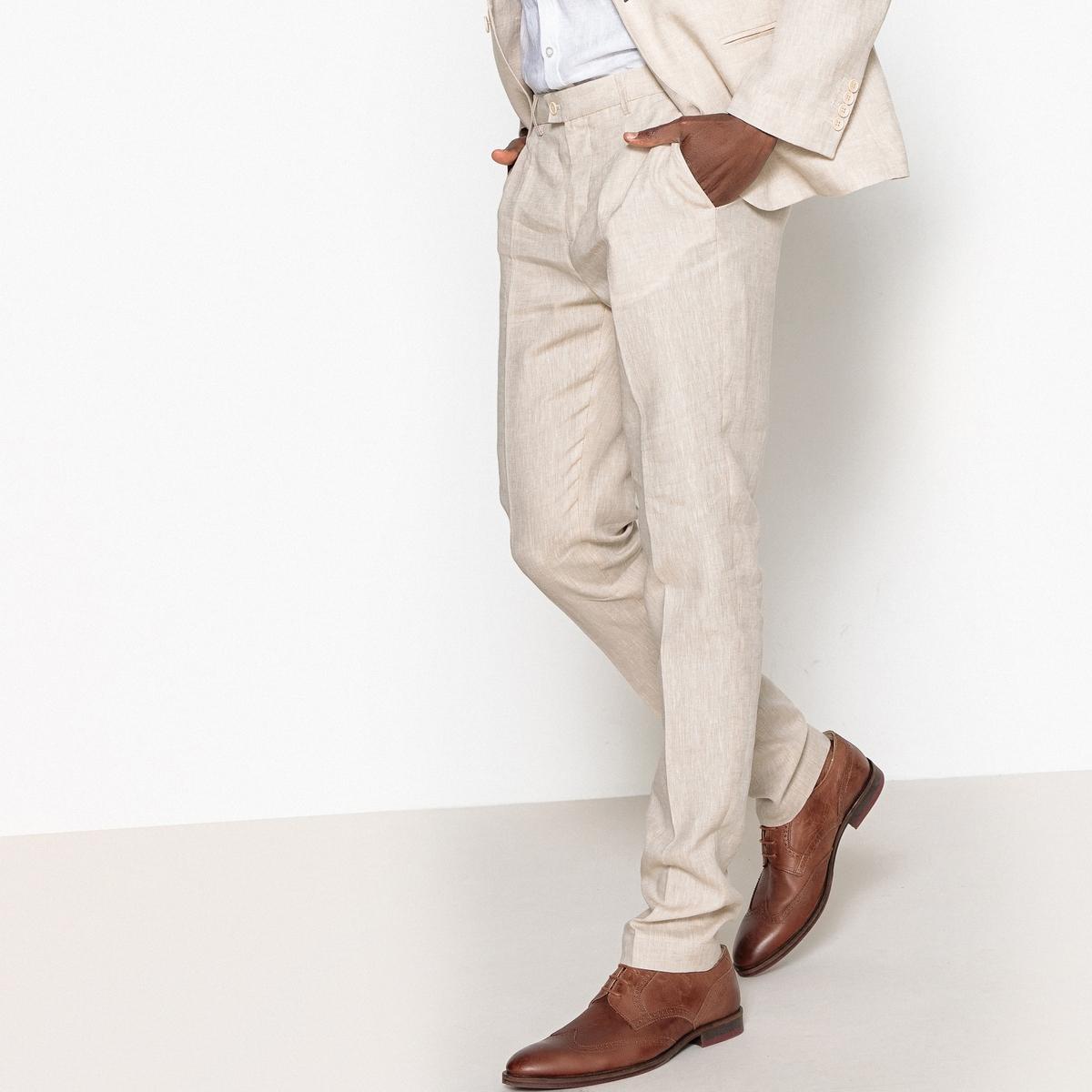 Брюки костюмные узкие из льна и хлопка брюки из лиоцелла и льна