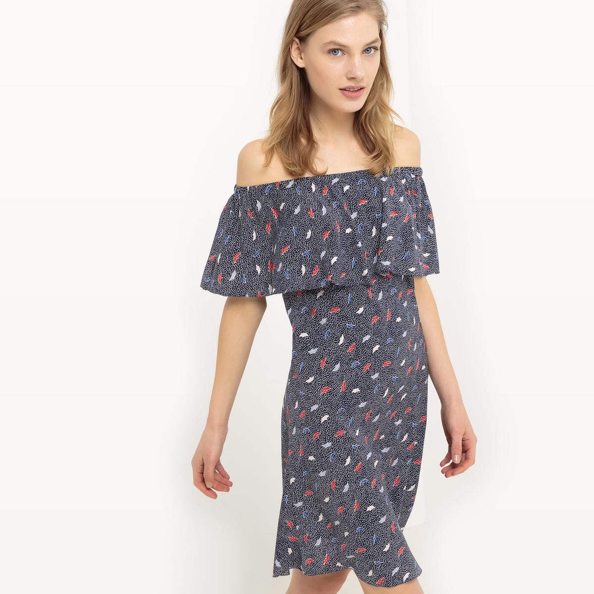 Платье с открытыми плечами и рисунком в стиле оригамиДетали  •  Форма : мини •  Укороченная модель •  Без рукавов    •  Круглый вырезСостав и уход  •  100% вискоза •  Следуйте рекомендациям по уходу, указанным на этикетке изделия<br><br>Цвет: рисунок темно-синий<br>Размер: 40 (FR) - 46 (RUS)