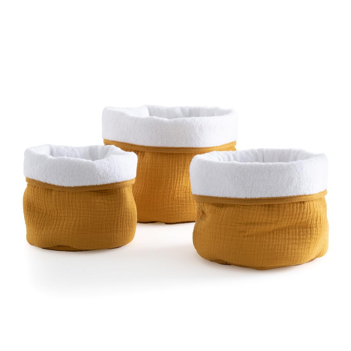 Комплект из 3 корзин из LaRedoute Хлопчатобумажной газовой ткани Kumla единый размер желтый
