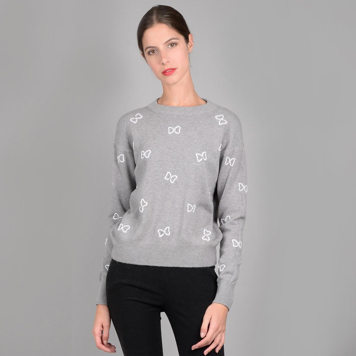 Пуловер с круглым вырезом, бантами с вышивкой и украшениями cazdzy короткое коктейльное платье с бантами