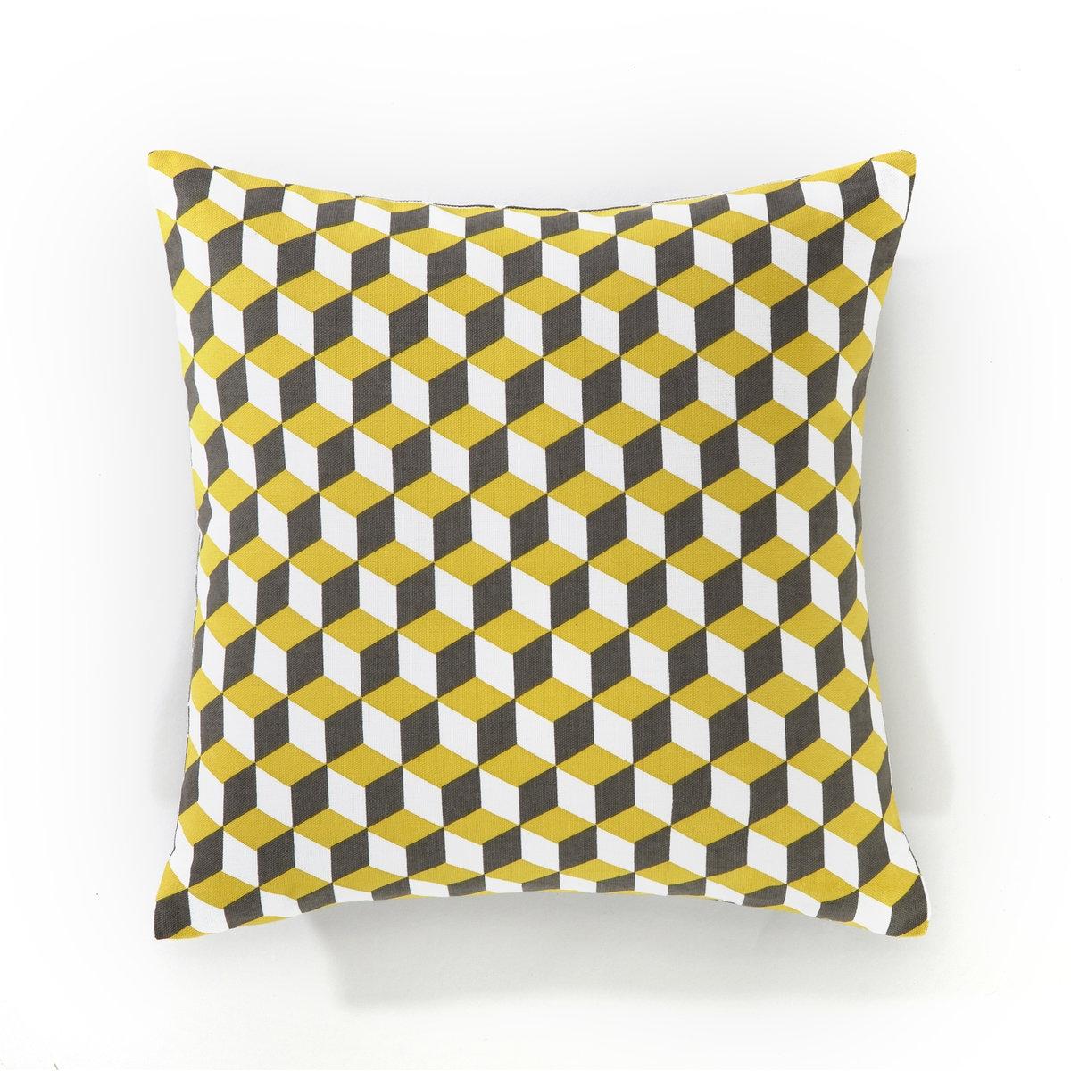 Чехол для подушкиЧехол для подушки Decio. Красивый геометрический рисунок с одной стороны, однотонный белый цвет с другой стороны. Застежка на скрытую молнию в тон. Стирка при 30°. 100% хлопка. Размер: 40 х 40 см.<br><br>Цвет: желтый/серый/белый,коралловый/ серый / белый<br>Размер: 40 x 40  см