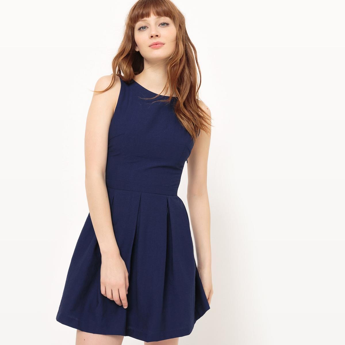 Платье короткое, без рукавов, однотонное платье без рукавов suncoo