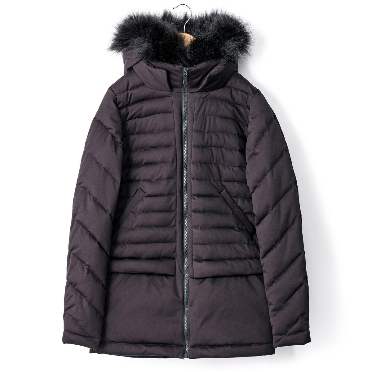 Куртка стеганая с капюшоном и застежкой на молниюСтеганая куртка с капюшоном и застежкой на молнию. 2 кармана по бокам. Отделка капюшона искусственным мехом. 100% полиэстера. Длина 70 см.<br><br>Цвет: черный<br>Размер: 38 (FR) - 44 (RUS).40 (FR) - 46 (RUS)