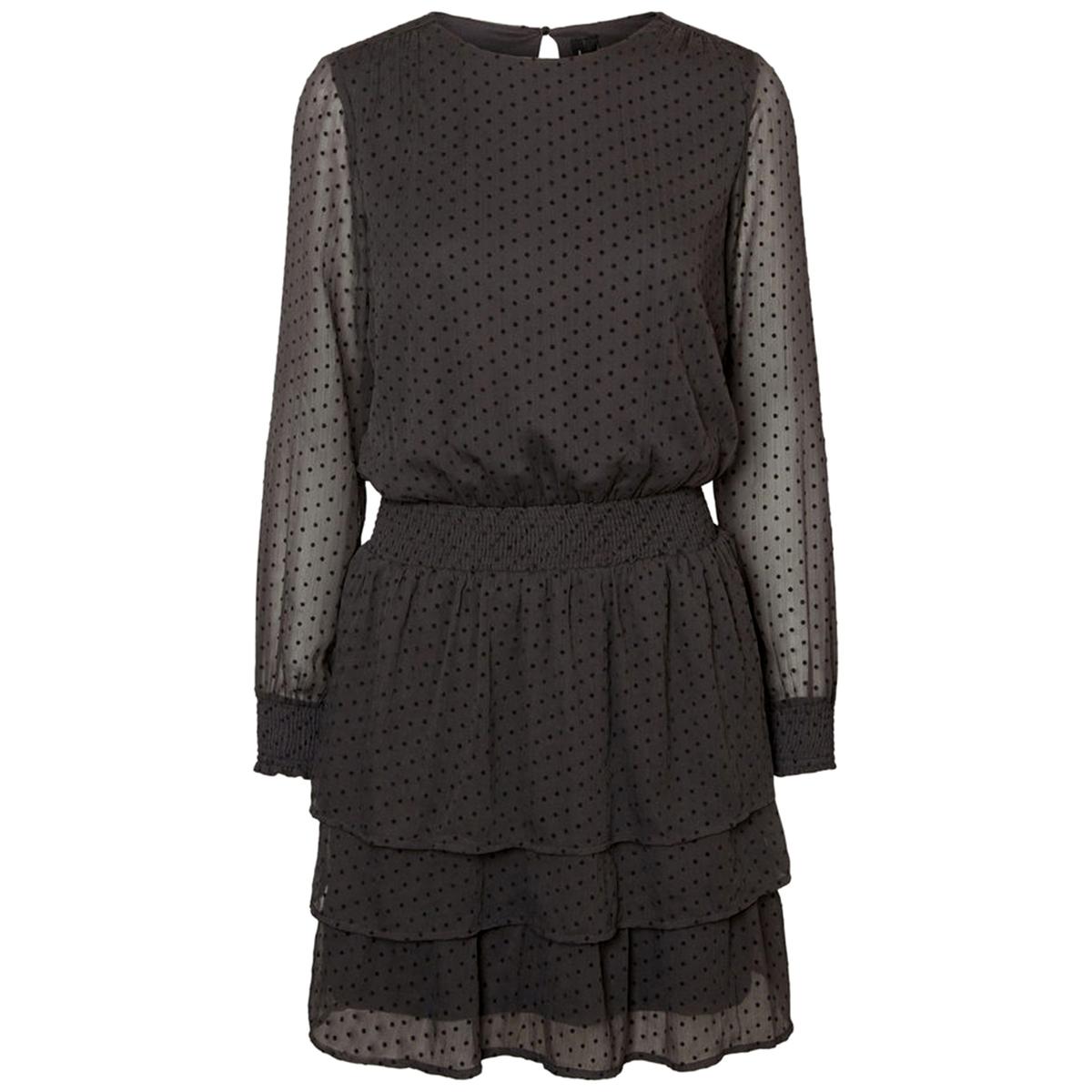 Платье однотонное короткого и расклешенного покроя с длинными рукавами от La Redoute