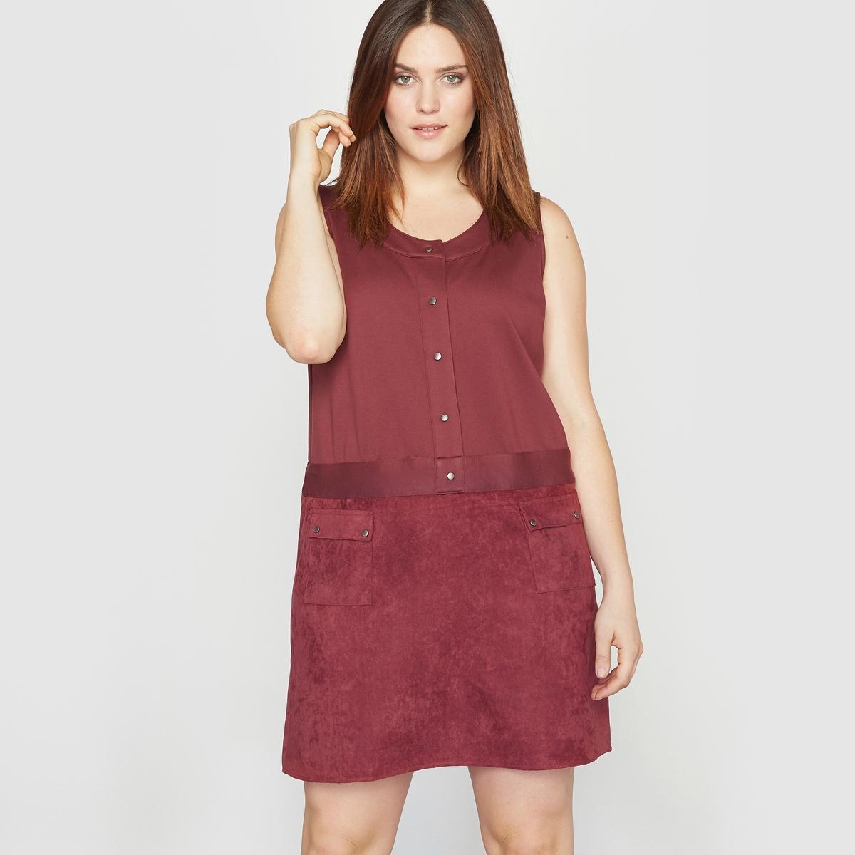Платье без рукавов из двух материалов с отделкой под кожу платье двухцветное из трикотажа милано
