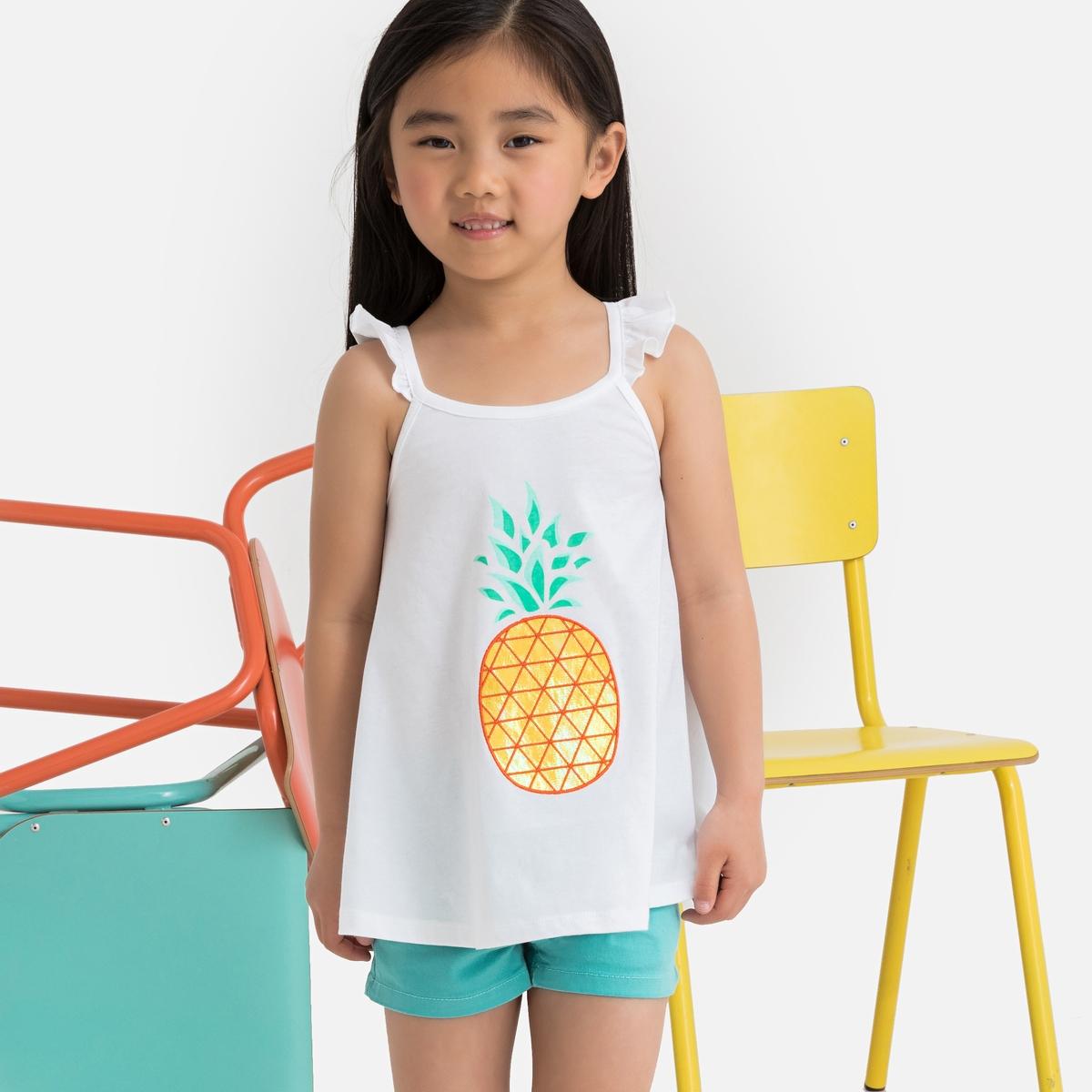 цена Топ La Redoute С воланами и рисунком ананас 3 года - 94 см белый онлайн в 2017 году