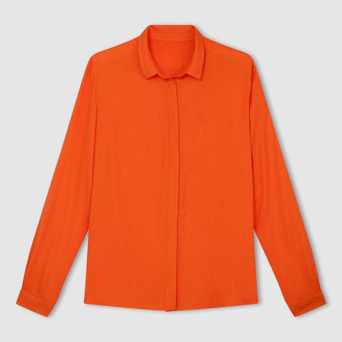 Рубашка из вискозы. Длинные рукаваРубашка из 100% вискозы . Длинные рукава . Без карманов . Супатная застежка на пуговицы  . Длина 67 см .            Элегантная и удобная рубашка, незаменимая в любом гардеробе  !<br><br>Цвет: ярко-оранжевый