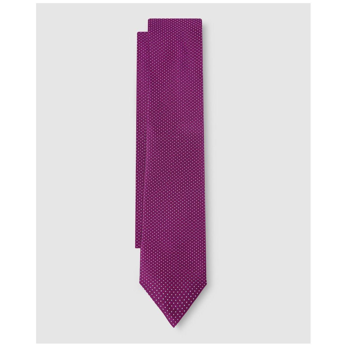 Cravate en soie magenta microimprimé pois /