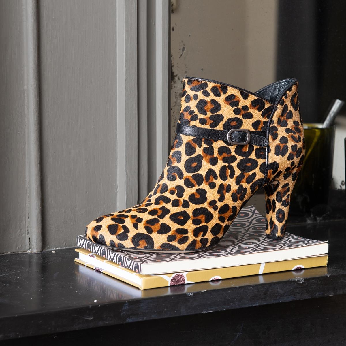 Botines leopardo de piel con cremallera Premium