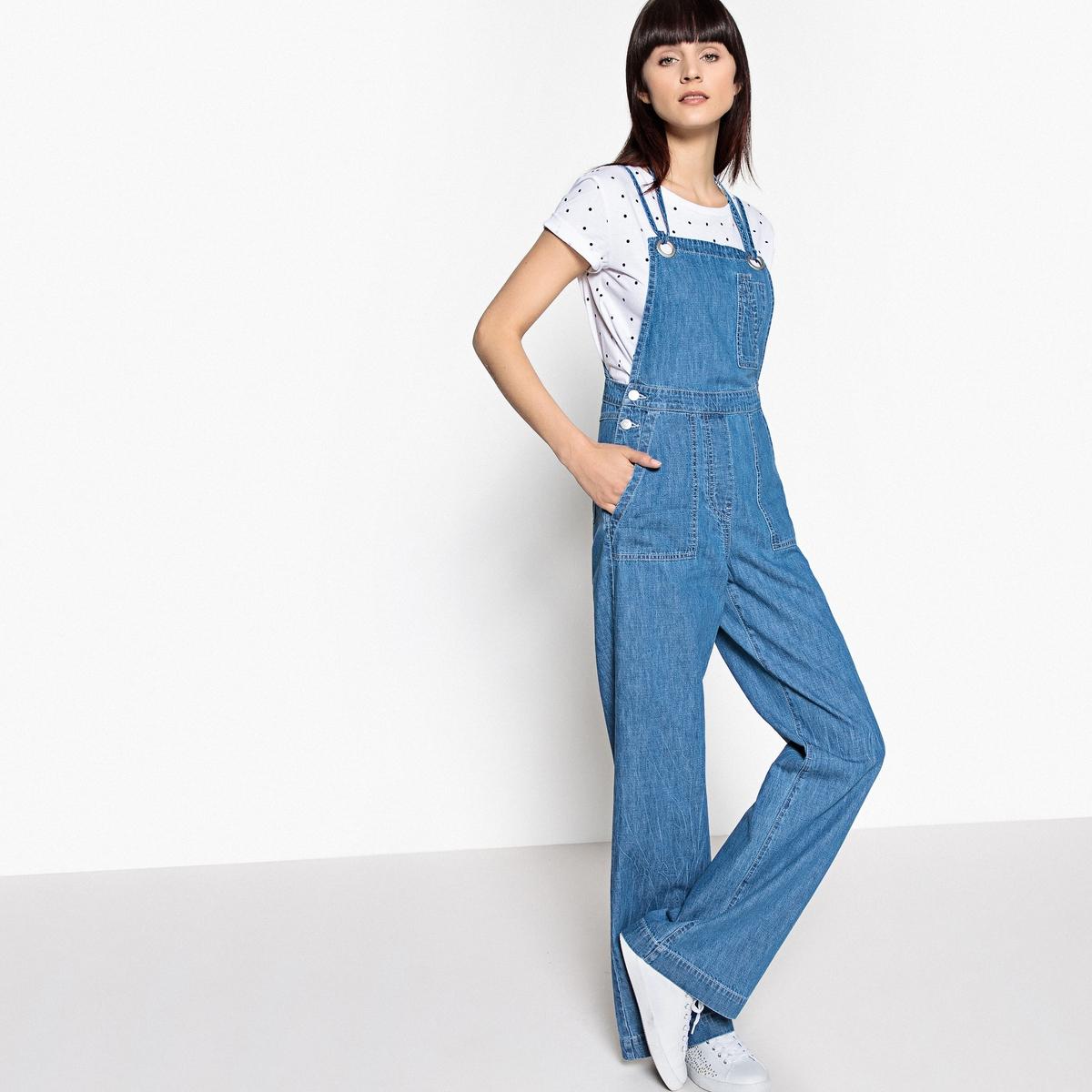 Комбинезон широкого покроя из джинсовой ткани с перекрещивающимися бретелями