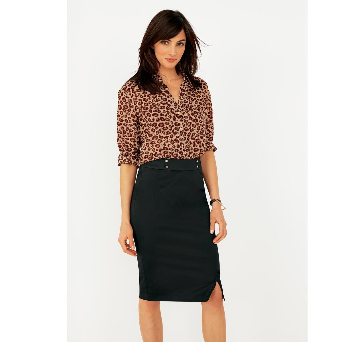 Рубашка с принтом и длинными рукавамиРубашка из крепа, 100% полиэстера. Длинные рукава, манжеты с застежкой на пуговицу. Рубашечный воротник на стойке. Застежка на пуговицы в тон. Закругленный низ. Длина 66 см.<br><br>Цвет: набивной рисунок<br>Размер: 34 (FR) - 40 (RUS)