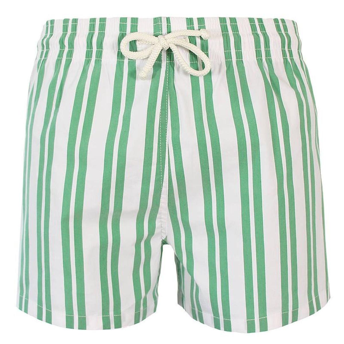 Maillot Short de bain homme John Rayure asymétrique vert et blanc