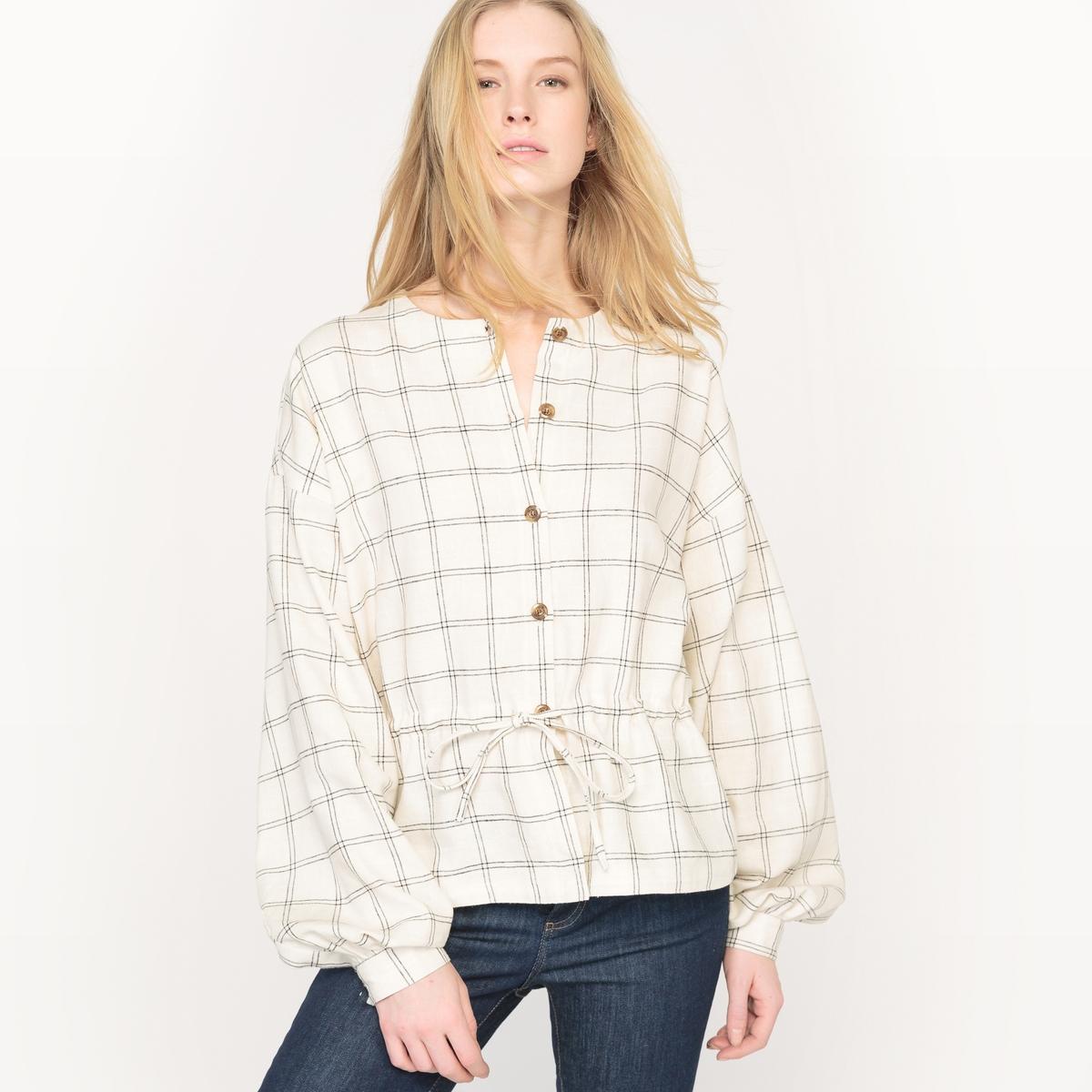 Рубашка в клетку с завязками на кулиске