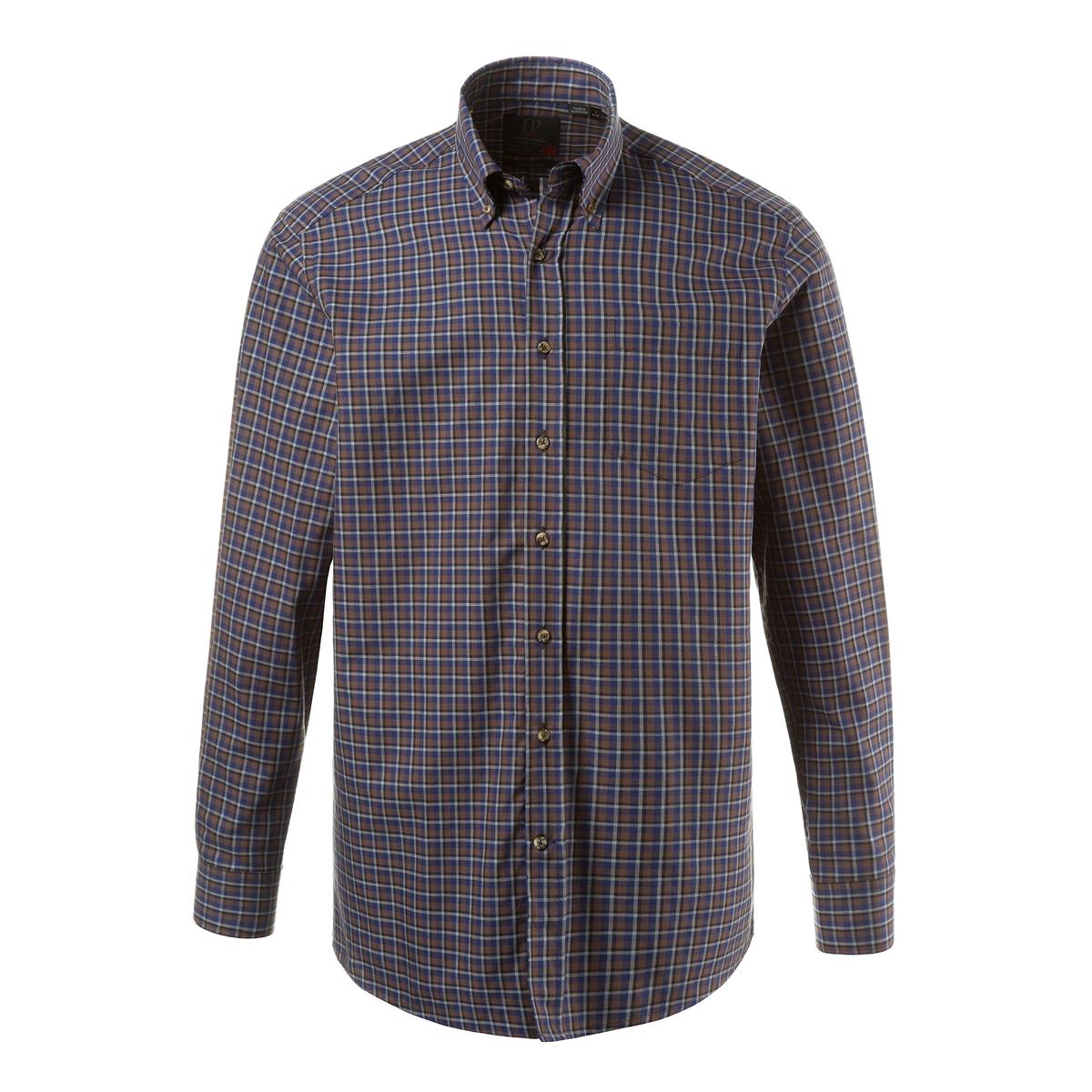 Рубашка с длинными рукавамиРубашка с длинными рукавами JP1880. Уголки воротника на пуговицах, нагрудный карман. Удобный покрой. Длина в зависимости от размера ок. 82-96 см. 100% хлопок.<br><br>Цвет: в клетку<br>Размер: 5XL