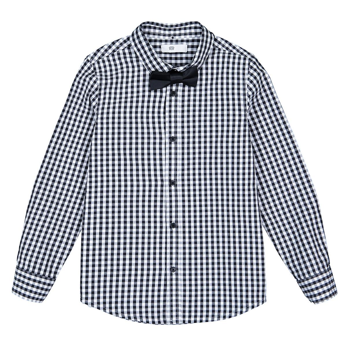 Camisa aos quadrados, com laço papillon 3-12 anos