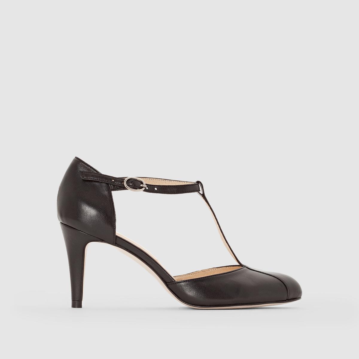 Туфли кожаные на каблуке, с пряжкой,  ALIBISПодкладка: кожа.    Стелька: кожа.       Подошва: эластомер.       Форма каблука: шпилька.Мысок: острый.Застежка: Ремешок/пряжка.<br><br>Цвет: черный