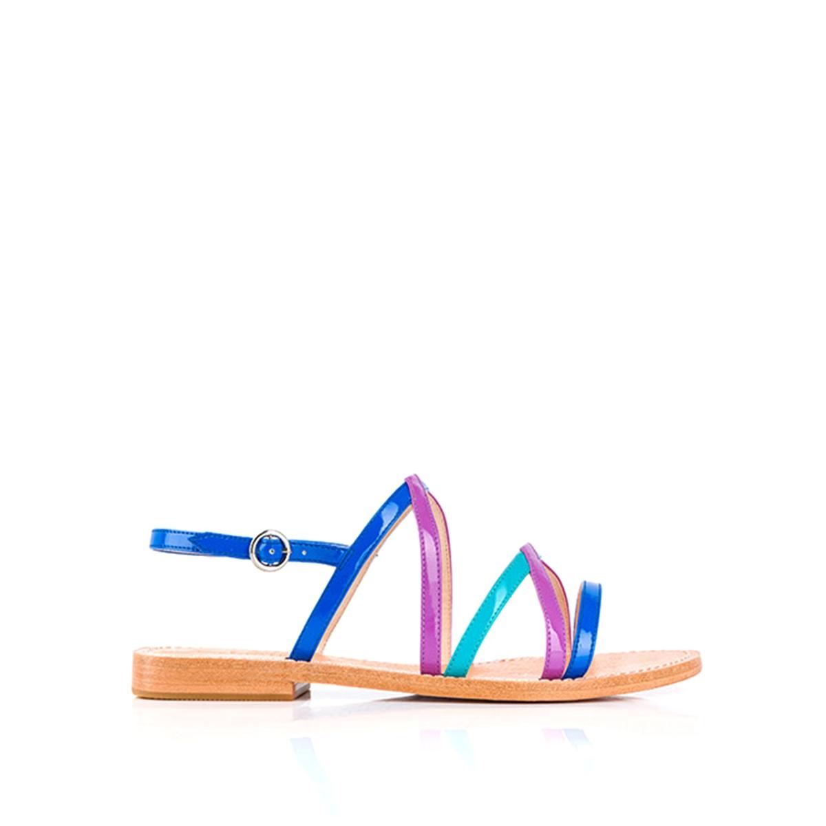 Босоножки BalentineВерх: полиуретан.Подкладка: кожа.  Стелька: кожа.  Подошва: синтетика.Высота каблука: 1 см.  Форма каблука: плоский каблук.Мысок: закругленный.  Застежка: пряжка.<br><br>Цвет: синий+фиолетовый