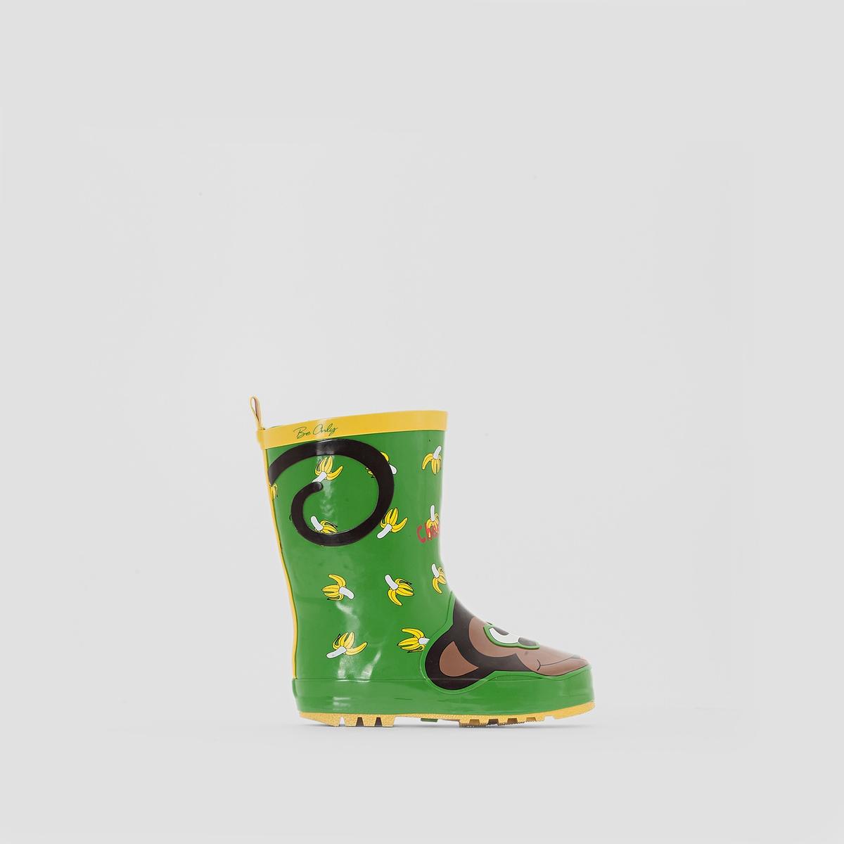 СапогиСапоги PRIMY от Be Only. Верх из каучука. Прокладка и стелька из хлопка. Подошва из каучука. Высота голенища 18 см. Настоящий комфорт благодаря материалу из натурального каучука. Подошва с прекрасными изолирующими свойствами. Красивые зеленые оттенки и анималистичный принт!<br><br>Цвет: зеленый