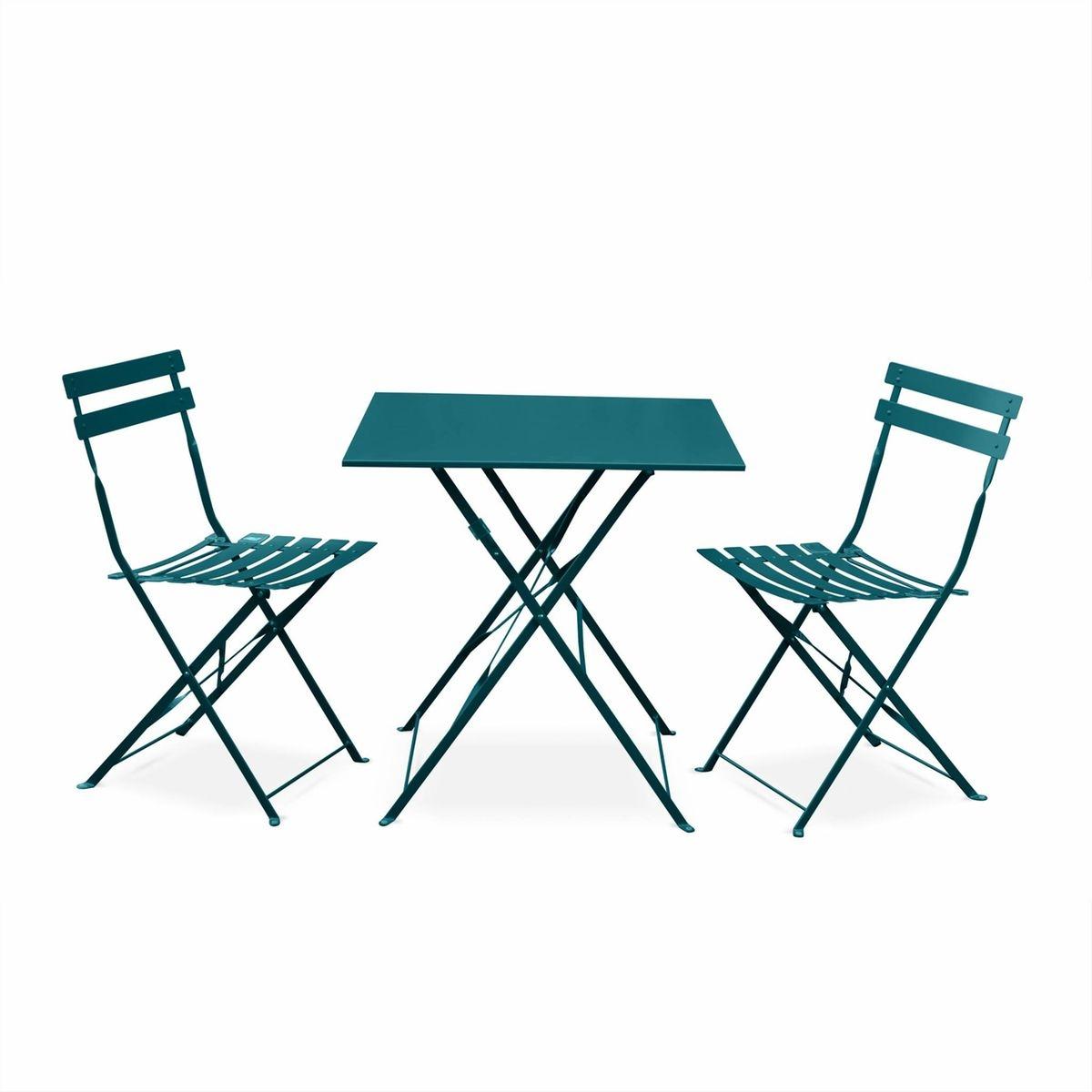 Salon de jardin bistrot pliable emilia carré bleu canard, table ...