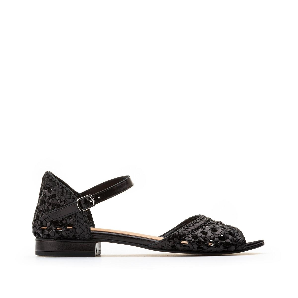 Sandalias de piel trenzada con tacón plano