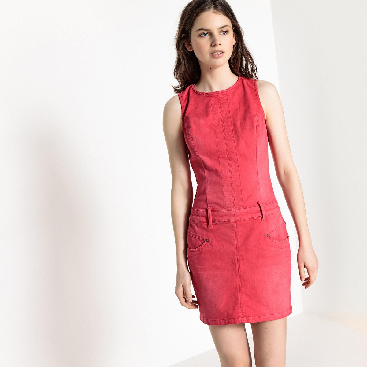 Платье прямое средней длины, однотонное, без рукавовОписание:Детали •  Форма : прямая •  Длина до колен     •  Круглый вырезСостав и уход •  62% хлопка, 3% эластана, 29% лиоцелла, 6% полиэстера •  Следуйте рекомендациям по уходу, указанным на этикетке изделия<br><br>Цвет: малиновый